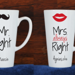 Spersonalizowane kubki do latte Mr Right i Mrs always Right